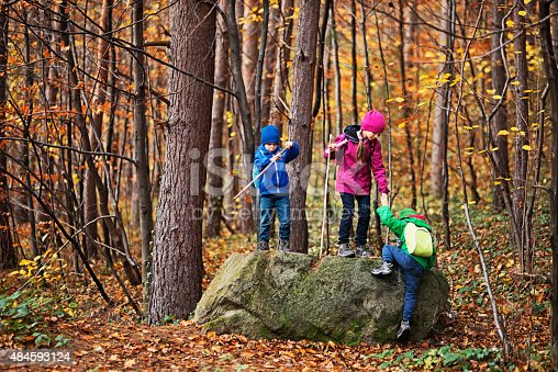 515278306 istock photo Kids hiking in autumn forest 484593124