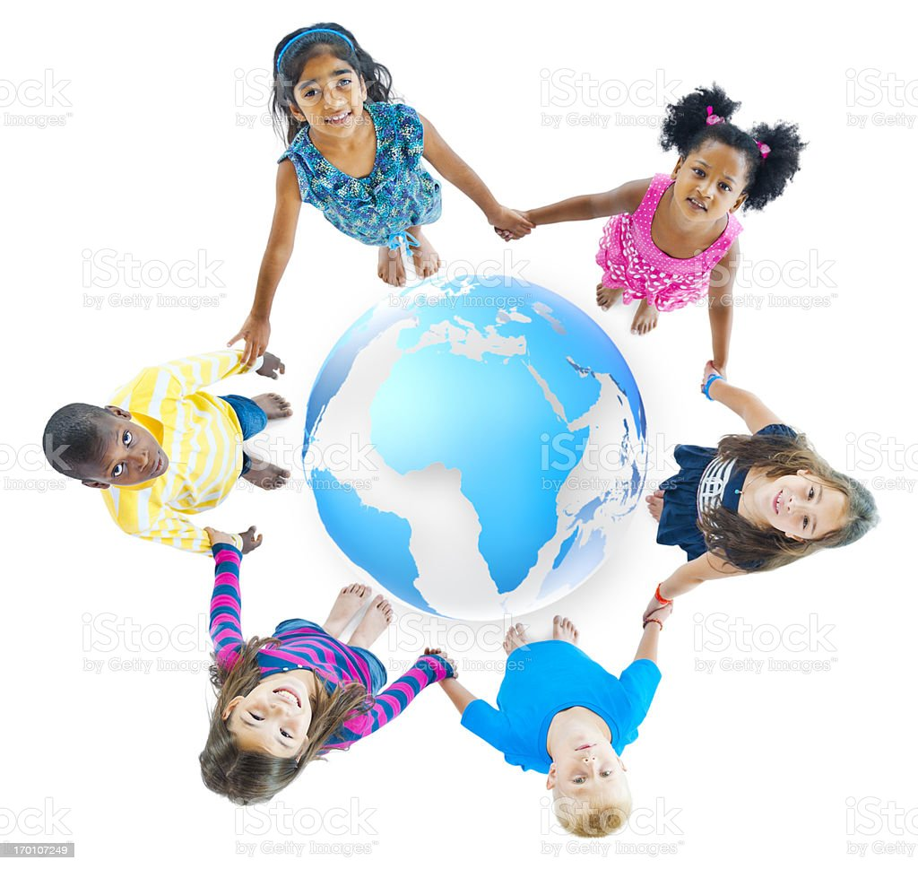 Kids holding hands in a circle royalty-free stock photo