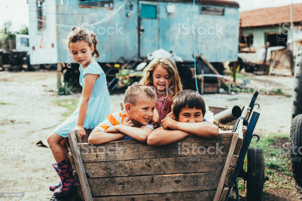 Kids in a horse cart