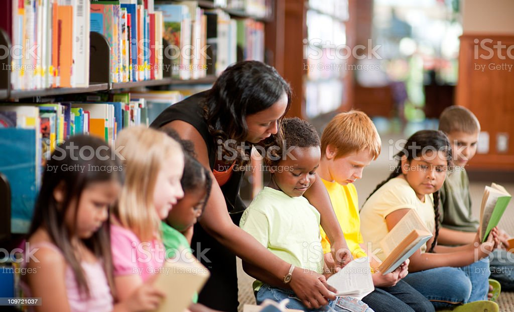Kids in a library royalty-free stock photo