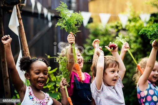 istock Kids in a vegetable garden with carrot 685863898