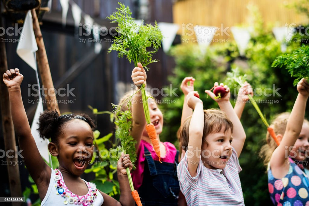 Kids in a vegetable garden with carrot stock photo