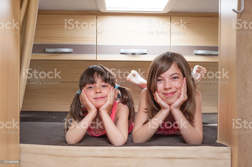 Kids in camper (RV), family vacation royalty-free stock photo
