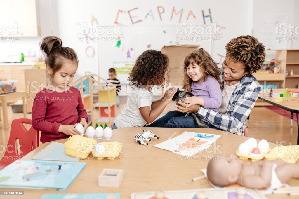 Kids in daycare learning about domestic animal stock photo