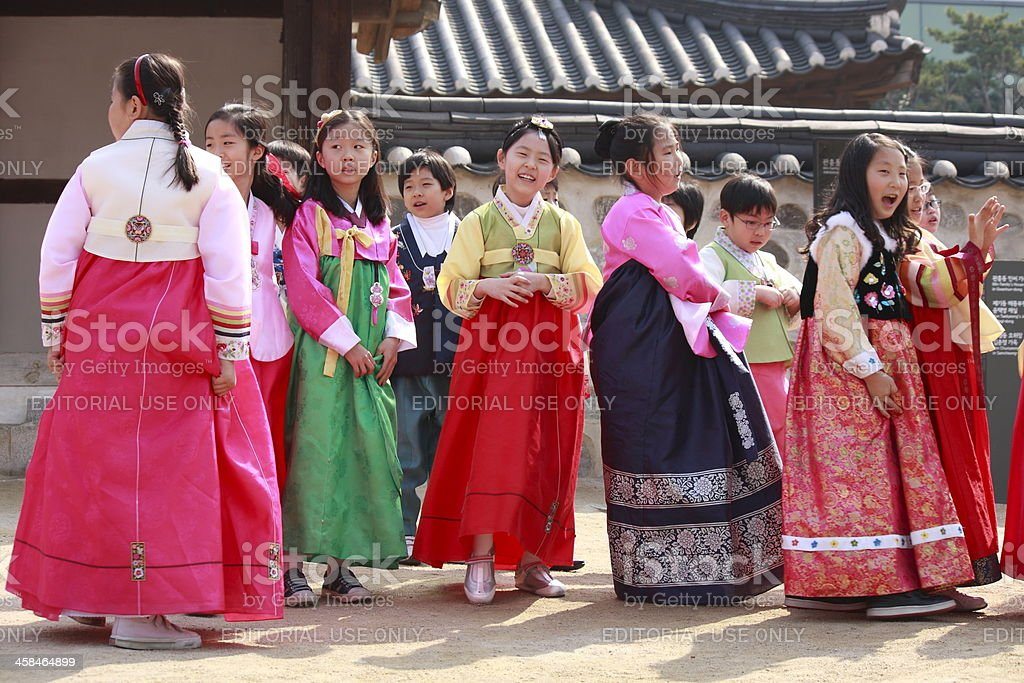 Kids in Hanbok stock photo