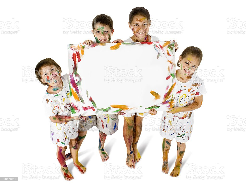 Kids in Paint with Sign royalty-free stock photo