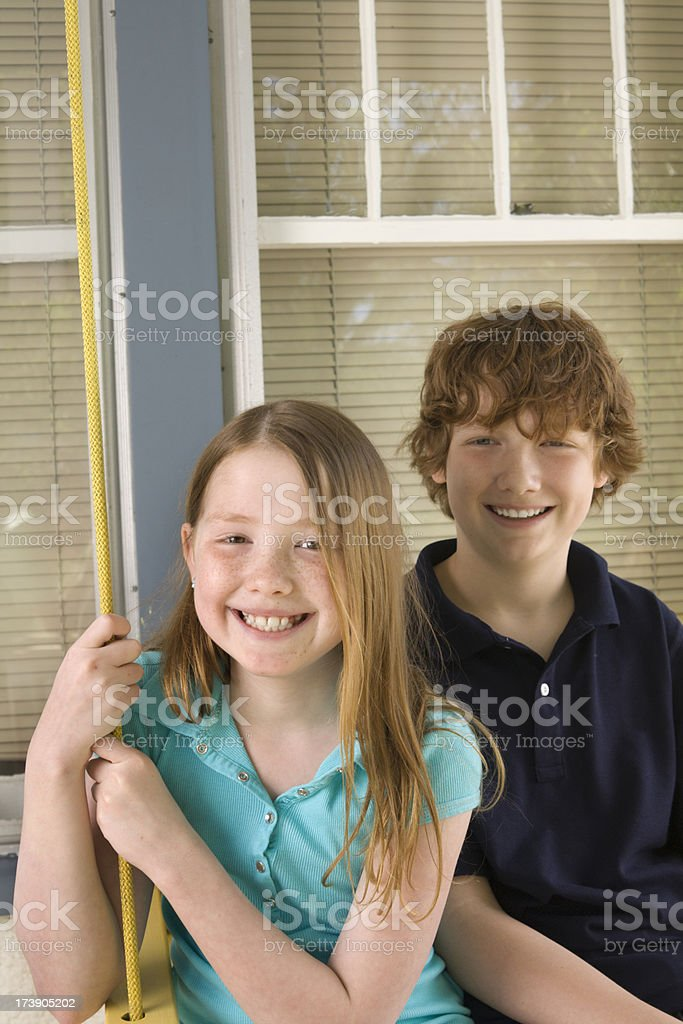Kids in the Porch royalty-free stock photo