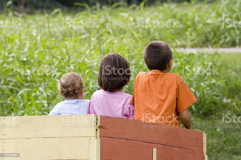 Kids into a Carriage royalty-free stock photo