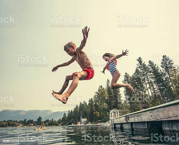 Kids jumping off the dock into a beautiful mountain lake picture id509813720?b=1&k=6&m=509813720&s=612x612&h=vxutlzgadyvtfn5dmr3pw5rkcygw5cgue3tnerye5bm=