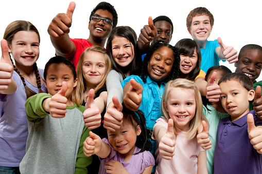 istock Kids K through 12th grade giving thumbs up 183844780