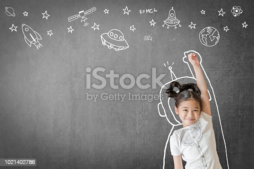 istock Kid's learning inspiration in science education with girl child's imagination doodle on teacher's school chalkboard for back to school month concept 1021402786