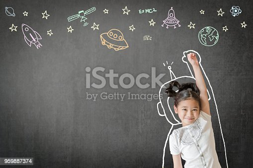 istock Kid's learning inspiration in science education with girl child's imagination doodle on teacher's school chalkboard for back to school month concept 959887374
