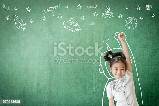 istock Kid's learning inspiration in successful education with creative imagination for back to school concept and STEM science technology engineering maths with doodle on aviation on green chalkboard 972918608
