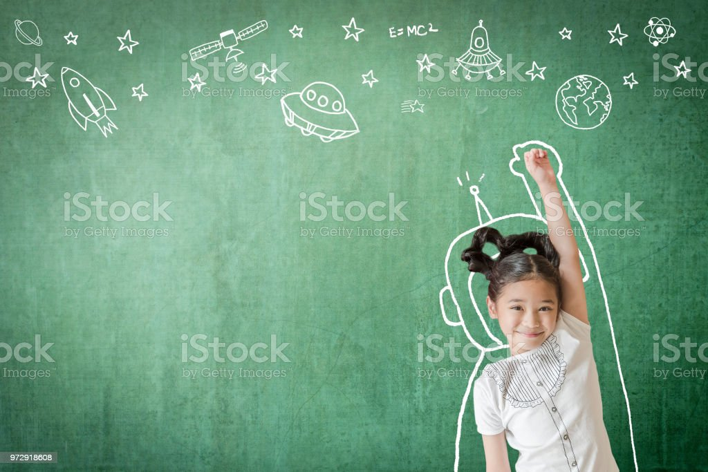 Kid's learning inspiration in successful education with creative imagination for back to school concept and STEM science technology engineering maths with doodle on aviation on green chalkboard stock photo