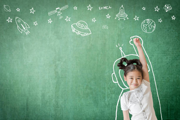 kid's learning inspiration in successful education with creative imagination for back to school concept and stem science technology engineering maths with doodle on aviation on green chalkboard - teachers day stock photos and pictures