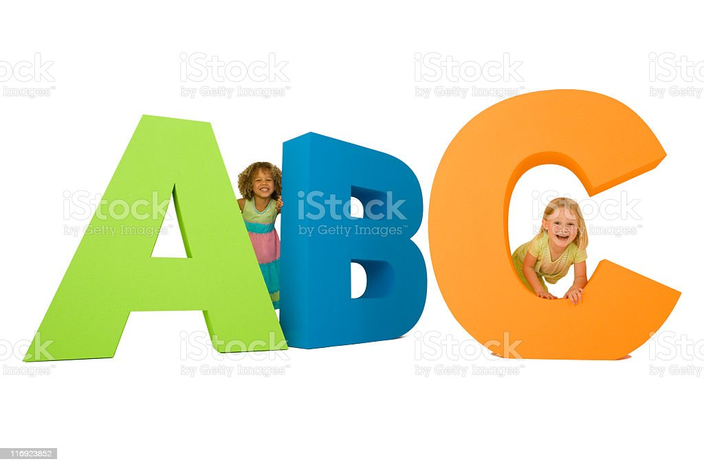 Kids learning their ABC's (XXL) royalty-free stock photo