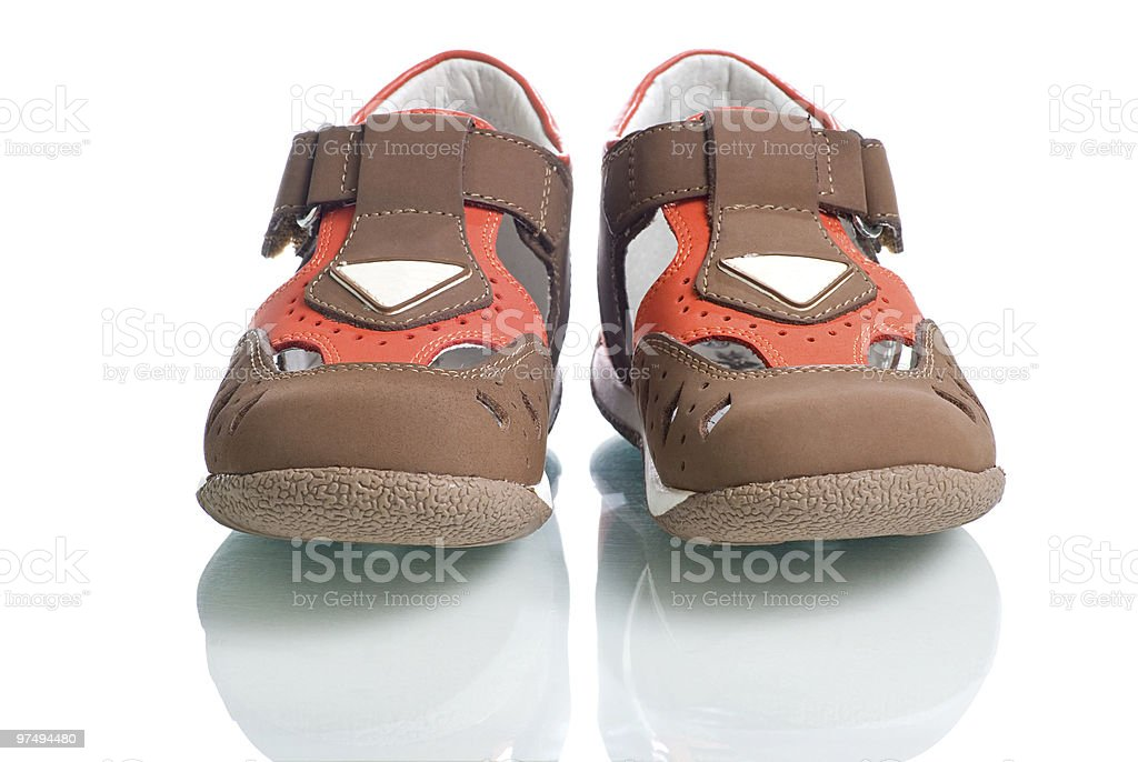 Kids leather shoes. royalty-free stock photo
