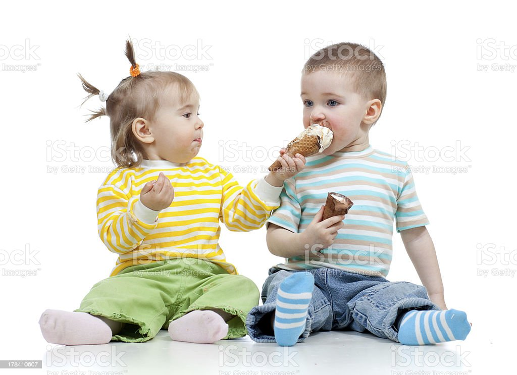 kids little girl and boy with ice cream stock photo