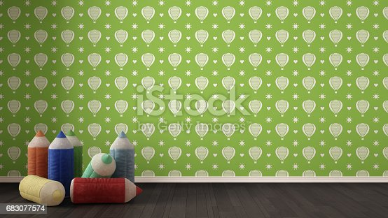 Kids minimalist colorful background with stuffed colored pencils on parquet flooring, child room nursery, green and white wallpaper, interior design