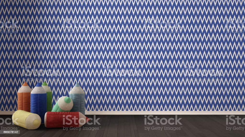 Kids minimalist colorful background with stuffed colored pencils on parquet flooring, child room nursery, blue and white wallpaper, interior design foto de stock royalty-free