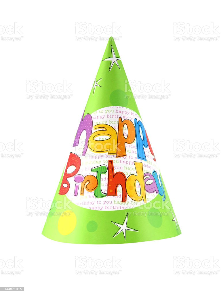 Kid's multicolored birthday party hat on a white background stock photo