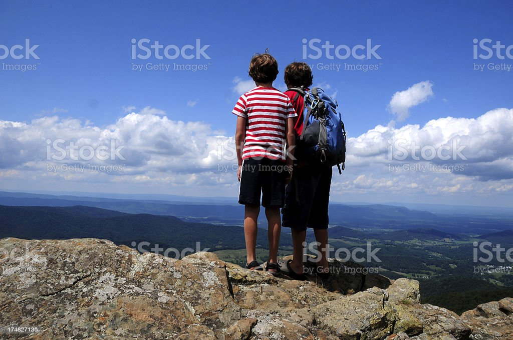 Kids Observing the view at Shenandoah National Park royalty-free stock photo