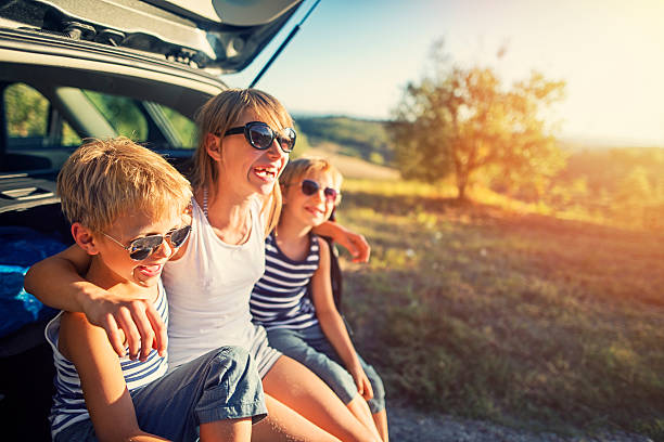kids on a road trip in tuscany, italy - mädchen wochenende stock-fotos und bilder
