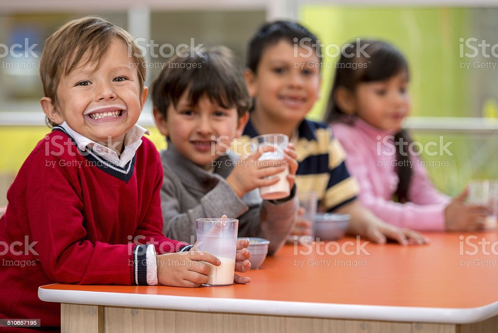 Kids on a school break stock photo