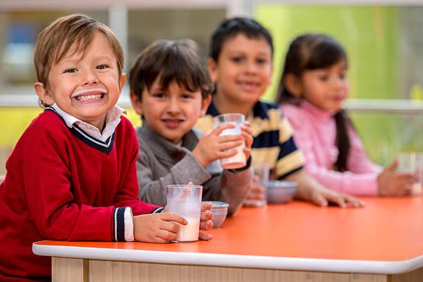 Kids on a school break stock photo