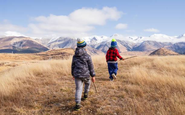 kids on adventure. stock photo