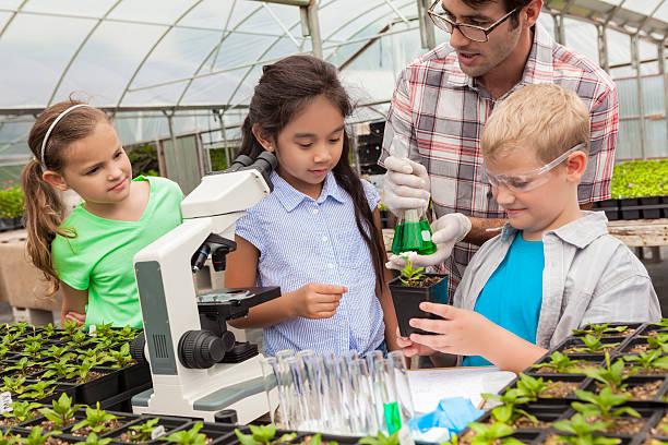 kids on science field trip - teacher school solo imagens e fotografias de stock