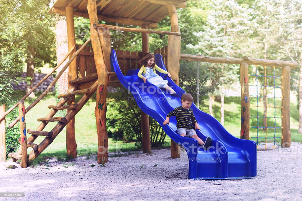 Kids on Slide photo libre de droits