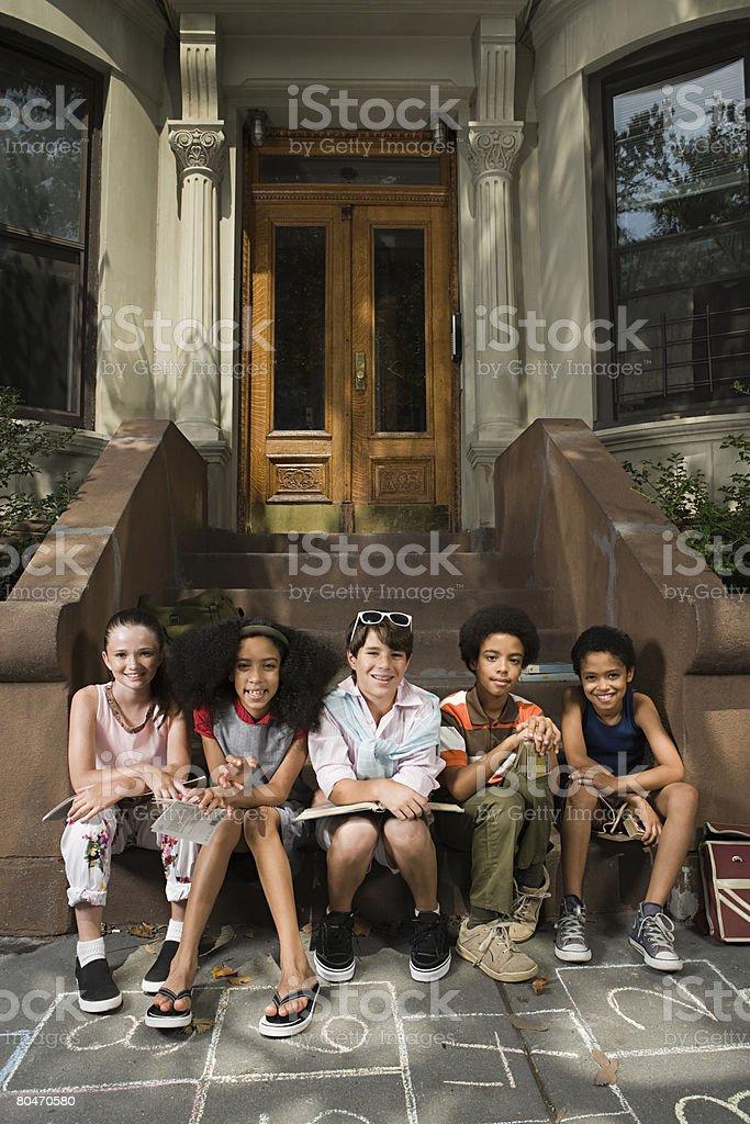 Kids on steps royalty-free stock photo