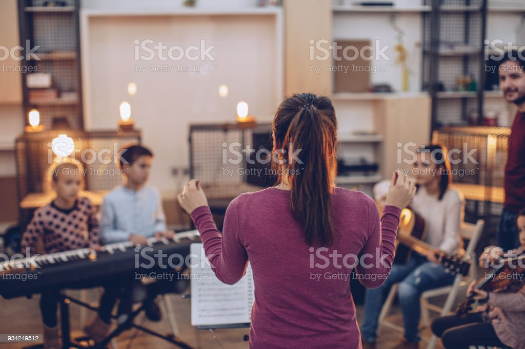 Kids orchestra stock photo