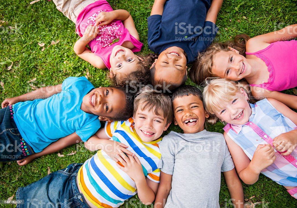 Kids outside stock photo