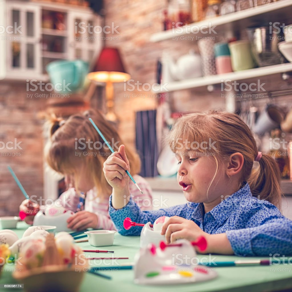Kids Painting Easter Eggs royalty-free stock photo