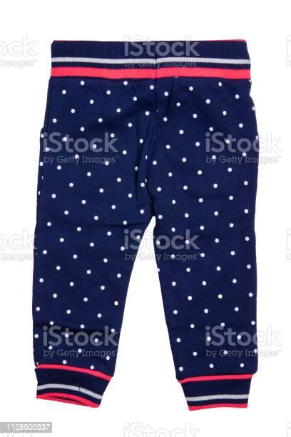 Ninos Pantalones Aislados Un Pantalon Elegante Moda Denim Azul Oscuro Con Puntos Blancos Para La Nina