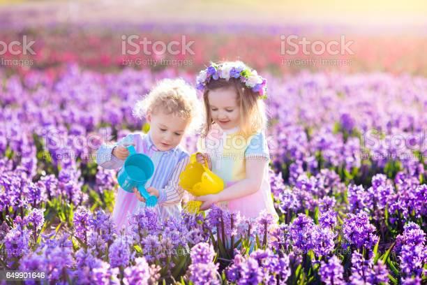 Kinder Pflanzen Und Blumen Im Frühlingsgarten Stockfoto und mehr Bilder von Agrarbetrieb