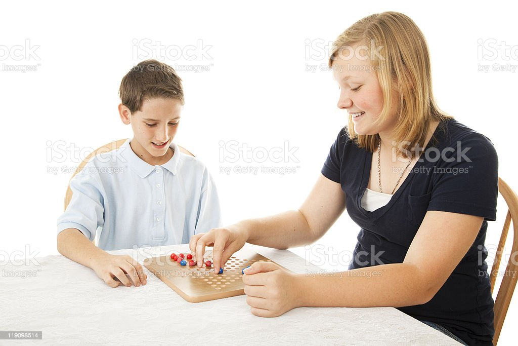 Kids Play Board Game royalty-free stock photo