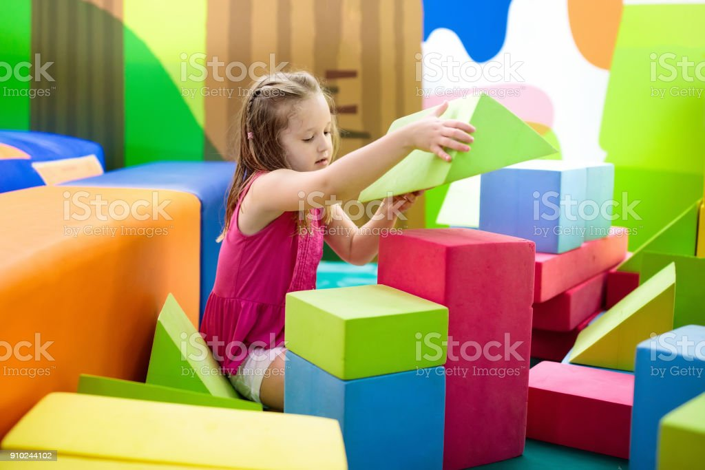 Kids play. Construction toy blocks. Child toys stock photo