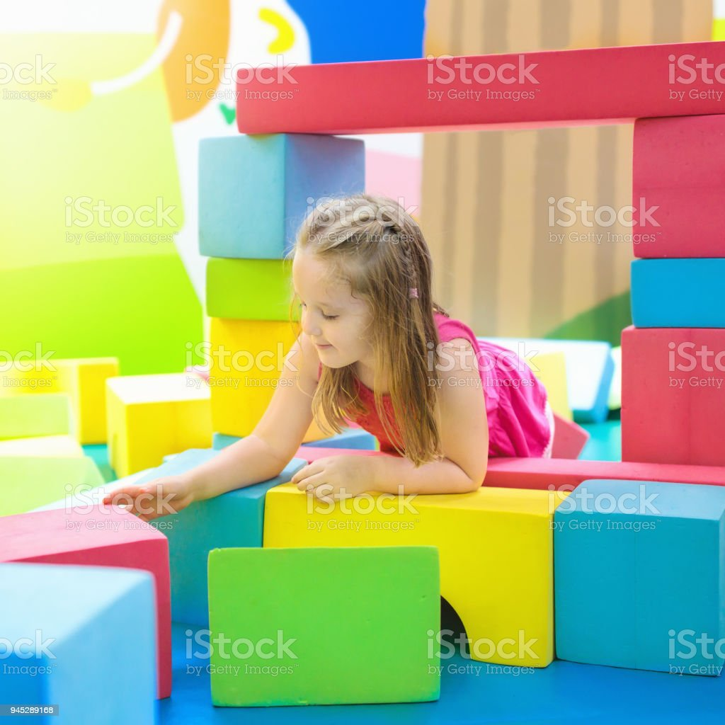 Kids play. Construction toy blocks. Child toys stock photo