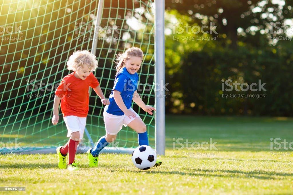 Football Wallpaper Soccer Ball Sport Goal Kids Boys: Kids Play Football Child At Soccer Field Stock Photo