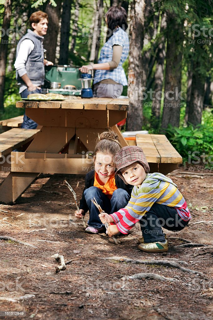 Kids play in the dirt stock photo