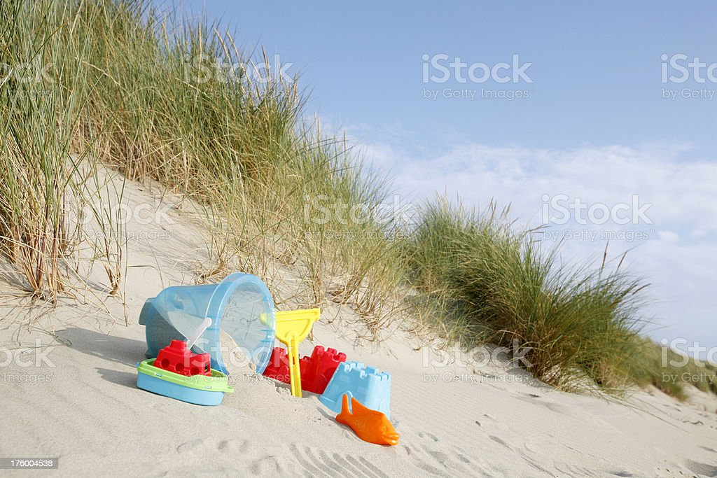 kids play materials on the beach royalty-free stock photo