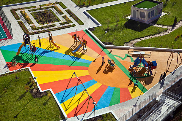 Kids playground Aerial view of kids playground recess stock pictures, royalty-free photos & images