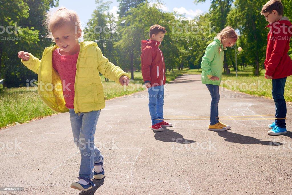 Kids playing games stock photo