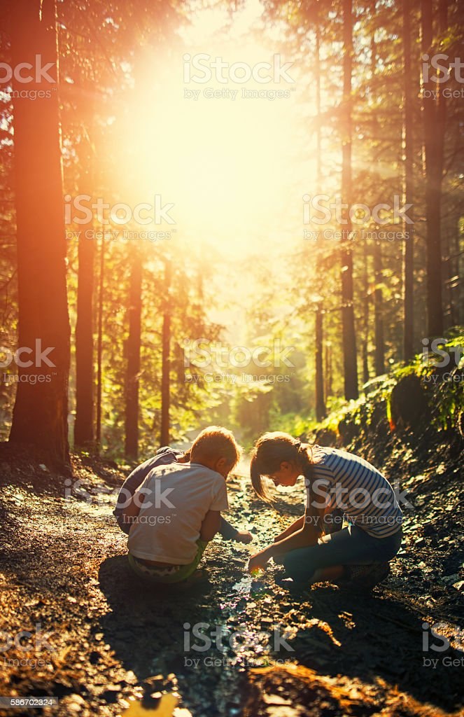 Kids playing in a small stream on forest path stock photo