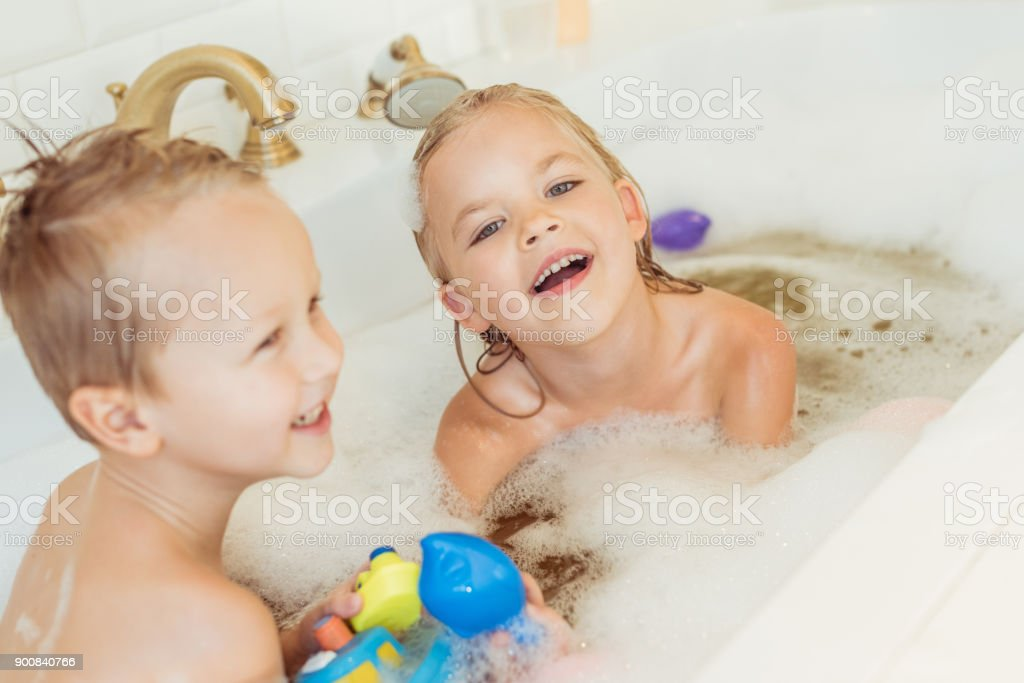 Kids Playing In Bathtub With Foam Stock Photo & More Pictures of ...
