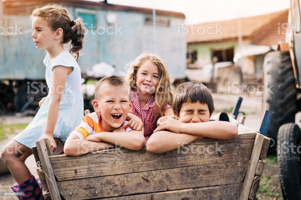Kids playing in the ghetto stock photo