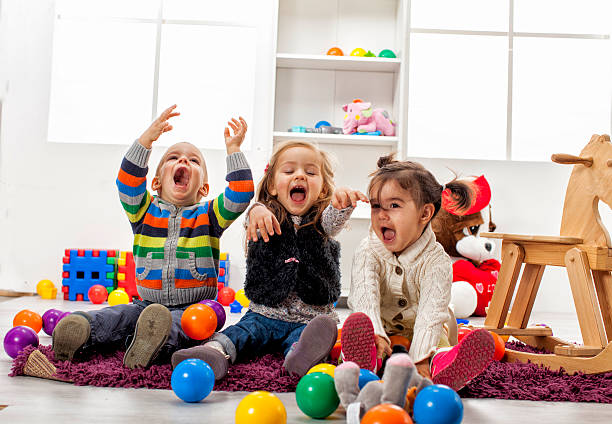 Kids playing in the room Kids playing in the room 2 3 years stock pictures, royalty-free photos & images